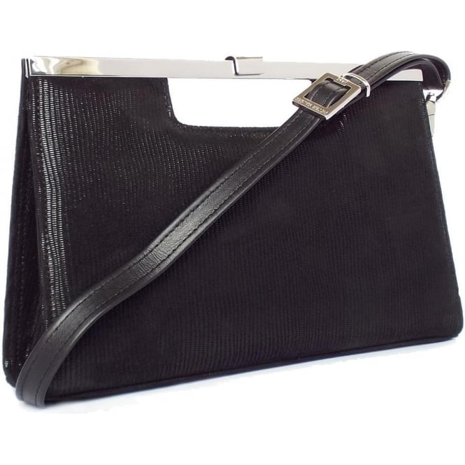 Peter Kaiser Wye Women's Evening Bag In Black Lizard Suede