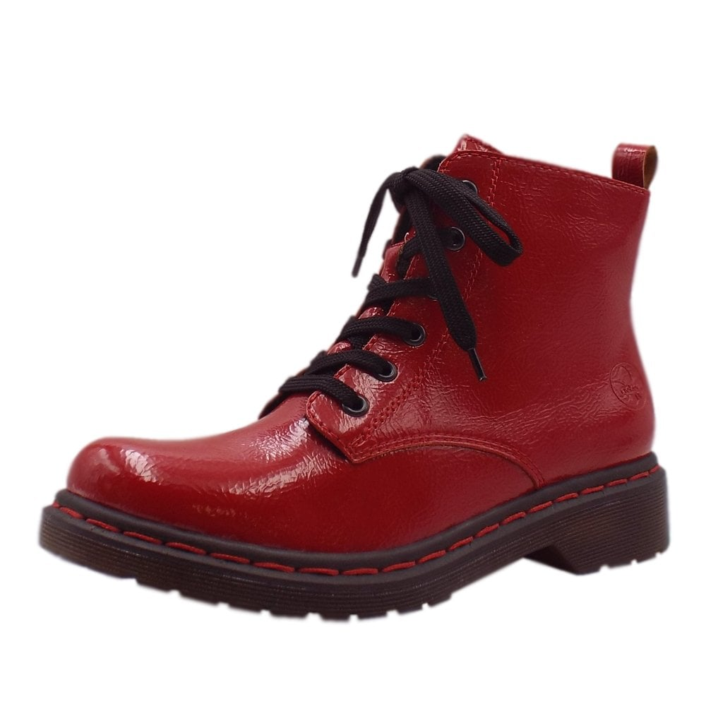Y8210 33 Lippy Hiking Style Fashion Boots in Red Patent