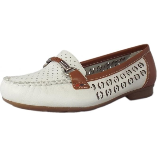 YasminWomen's In White Mozimo Loafers Breathable Rieker Leather SVqUMzp