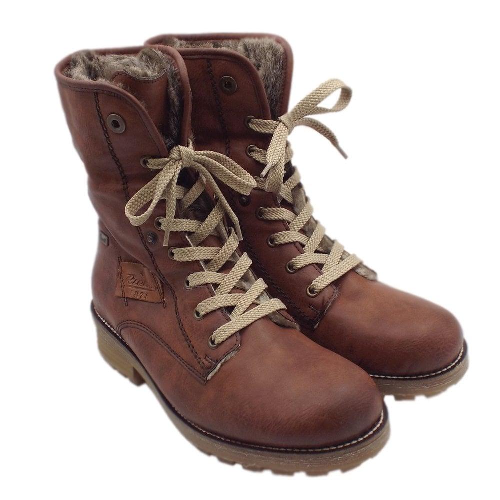 Rieker Z0420 24 Husky RiekerTEX Lace Up Winter Boots in Brandy