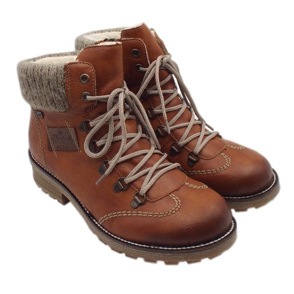 Rieker Z0444 24 Swetlana RiekerTEX Winter Boots with Knitted Collar in Tan