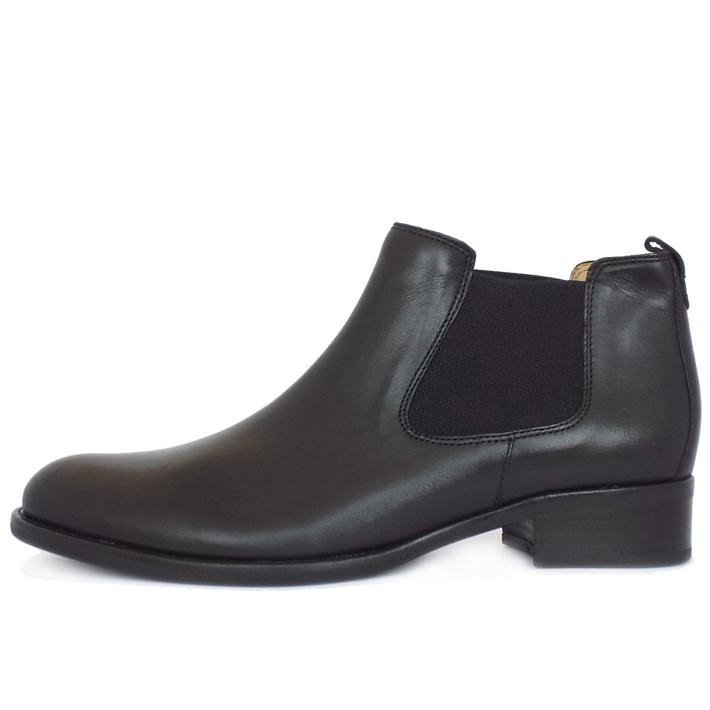 zodiac pull on ankle boots in black leather